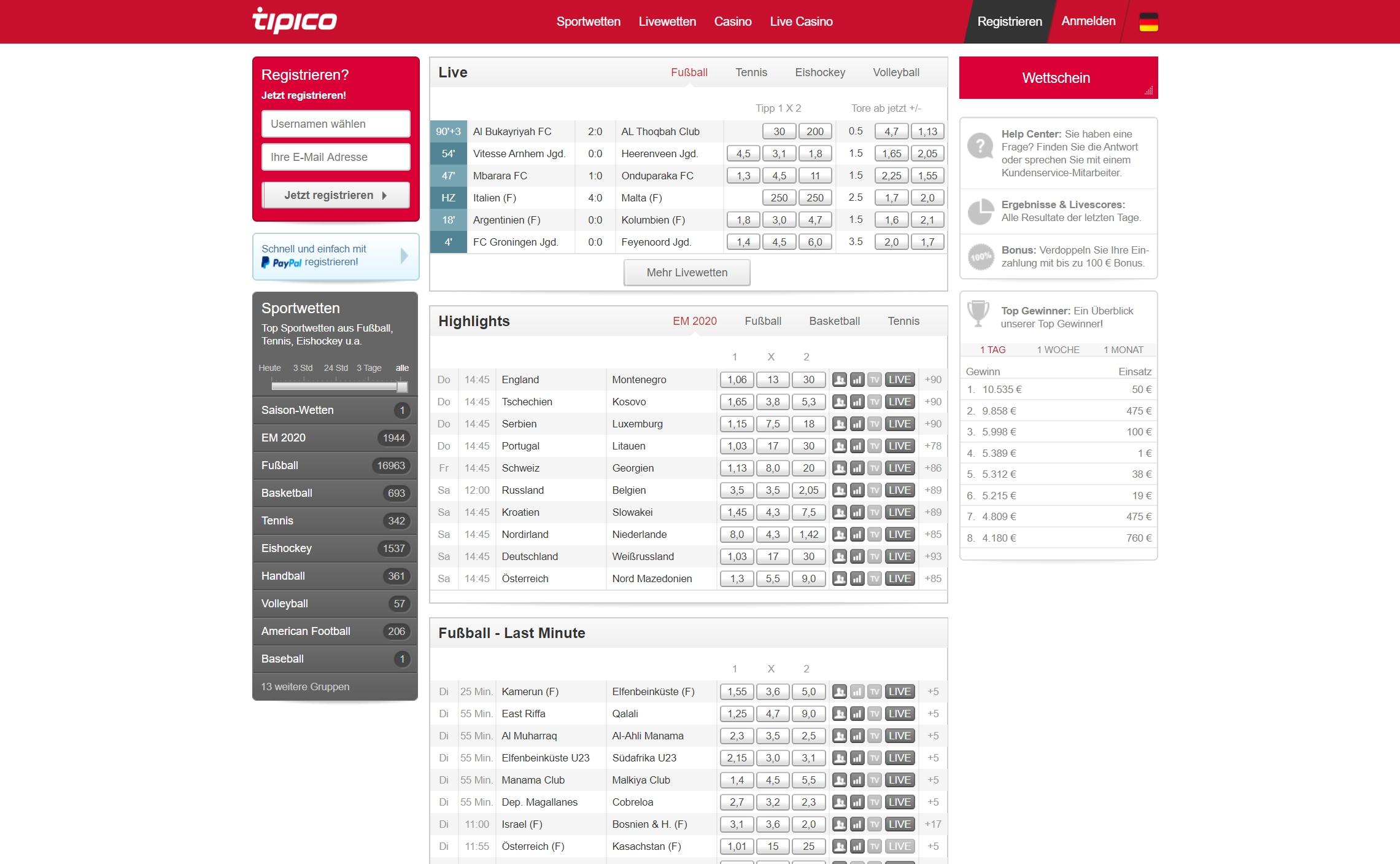 Tipico Website Auszahlung